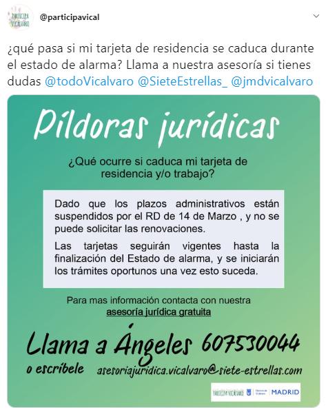Píldora informativa asesoramiento jurídico Participa Vicalvaro